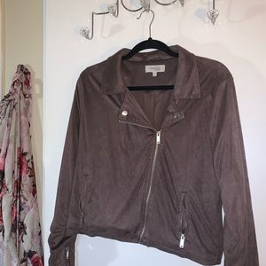 Mauve Zip up Motorcycle Style Jacket